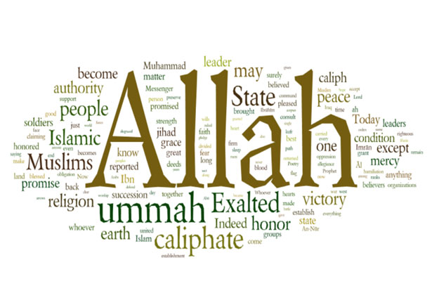word cloud ofAbu Bakr al Baghdadi's speech announcing Caliphate